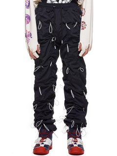 Ruched Toggle Nylon Stacked Jogger Pants Men